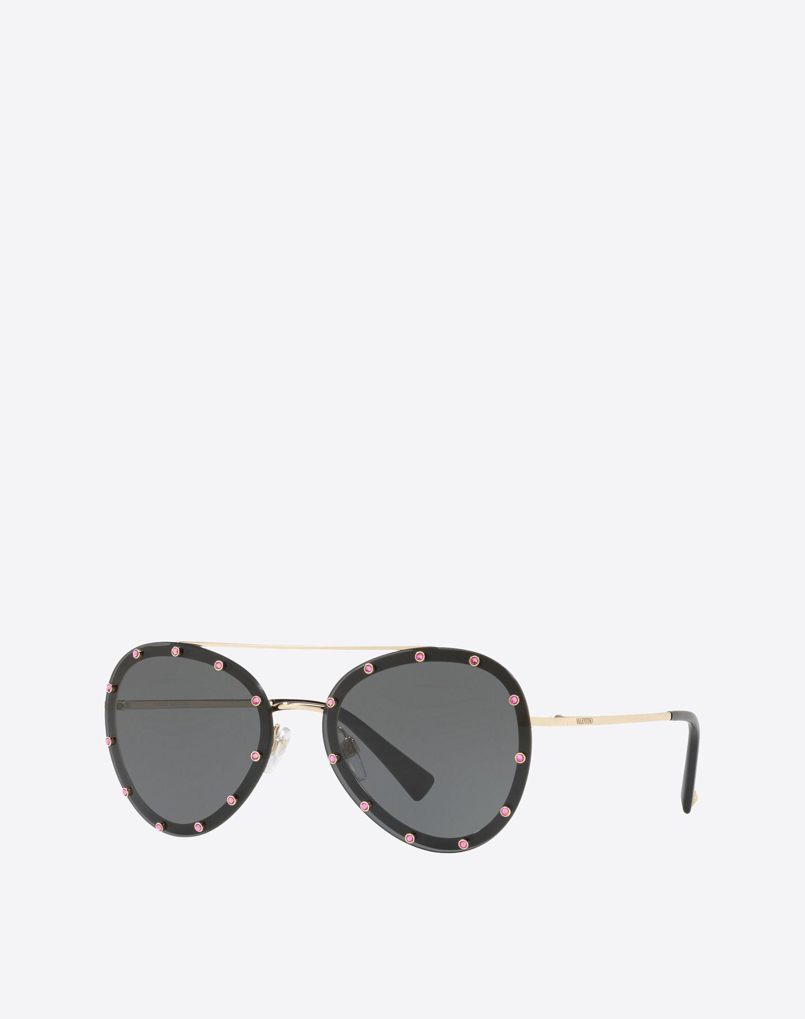 VALENTINO Metal and Acetate Sunglasses Sunglasses E r