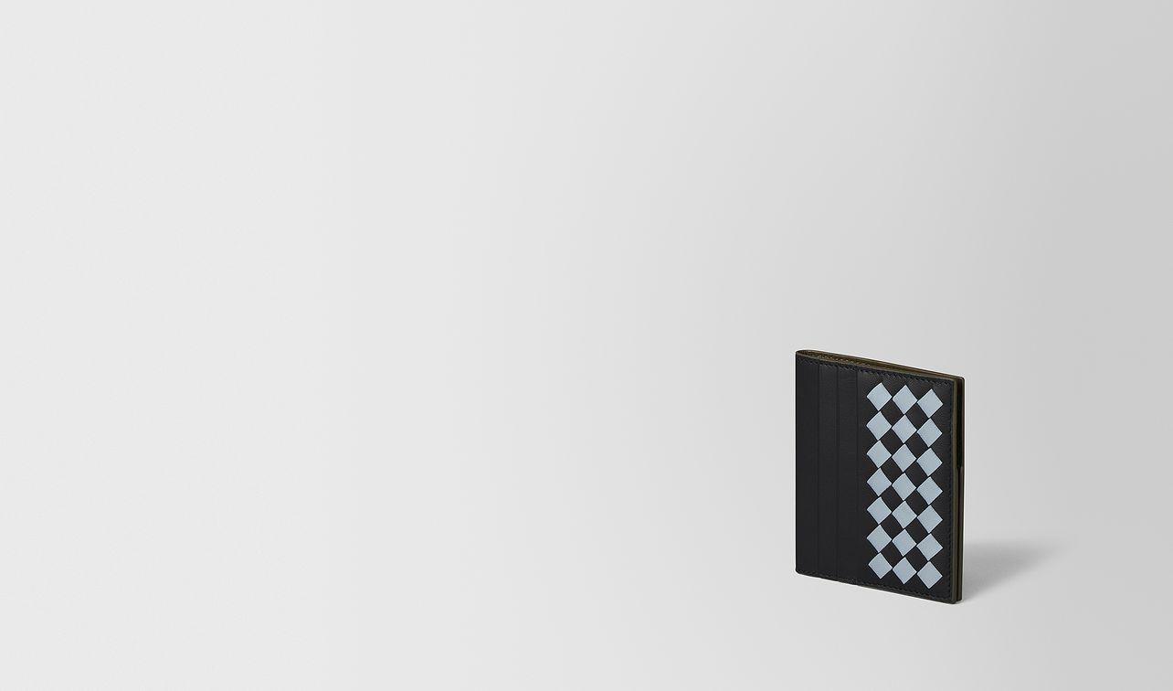 nero intrecciato checker nappa bi-fold wallet landing