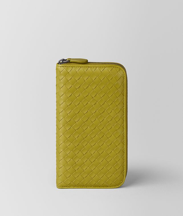 BOTTEGA VENETA CHAMOMILE INTRECCIATO NAPPA ZIP-AROUND WALLET Zip Around Wallet [*** pickupInStoreShipping_info ***] fp