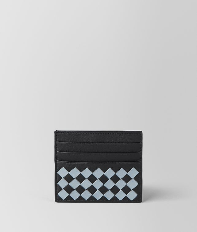 BOTTEGA VENETA NERO ARCTIC INTRECCIATO PALIO CARD CASE Card Case or Coin Purse E fp