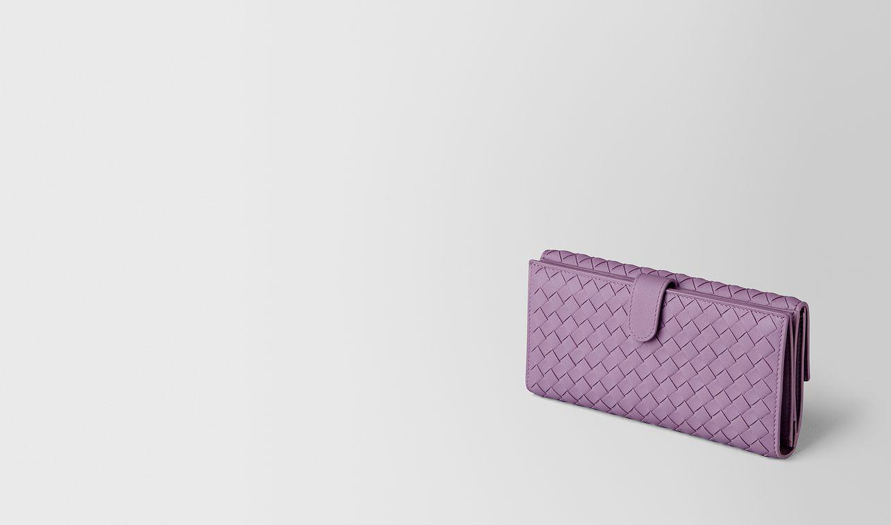 lilac intrecciato nappa continental wallet landing