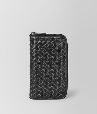 NERO METAL BRUSH CALF ZIP-AROUND WALLET