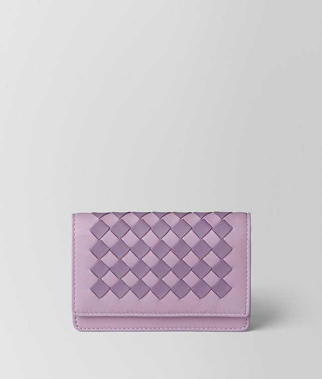 BOTTEGA VENETA PARME LILAC INTRECCIATO CHECKER CARD CASE Card Case or Coin Purse E fp