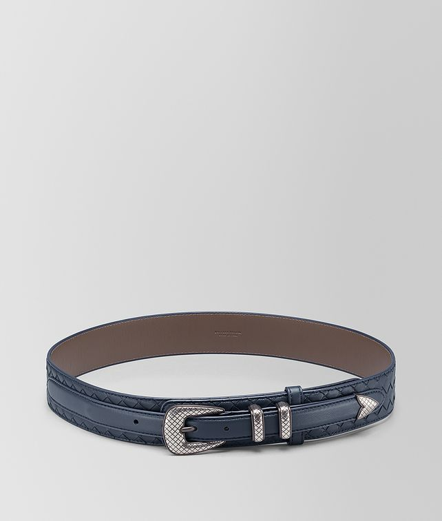 BOTTEGA VENETA DENIM INTRECCIATO NAPPA BELT Belt [*** pickupInStoreShippingNotGuaranteed_info ***] fp