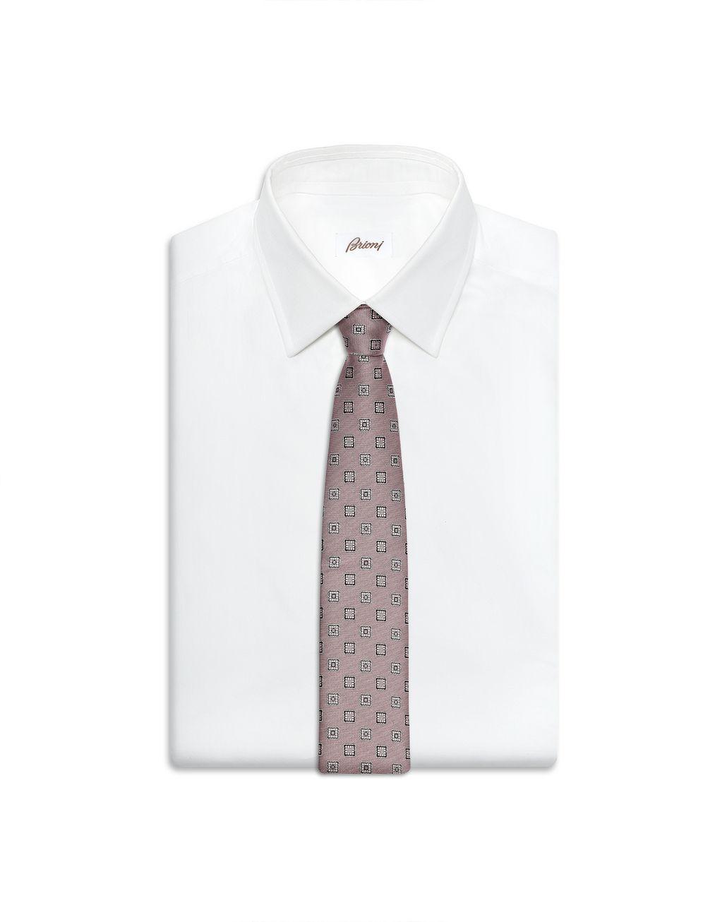 BRIONI Cravatta Rosa con Macrofantasia Cravatta Uomo e