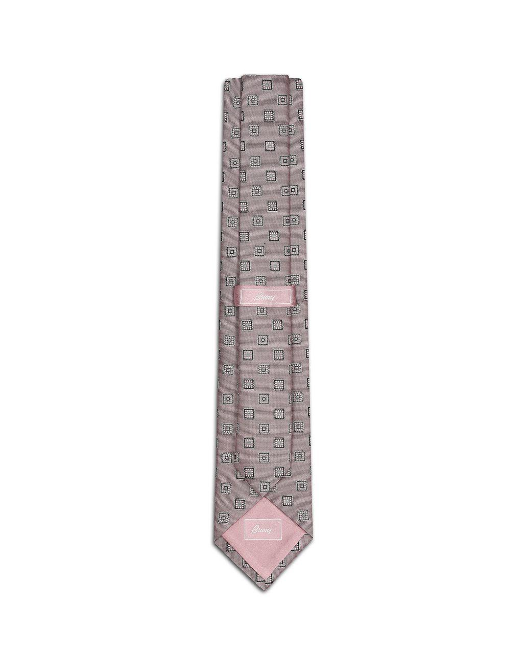 BRIONI Cravatta Rosa con Macrofantasia Cravatta Uomo r