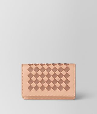 PEACH ROSE DAHLIA INTRECCIATO PALIO CARD CASE