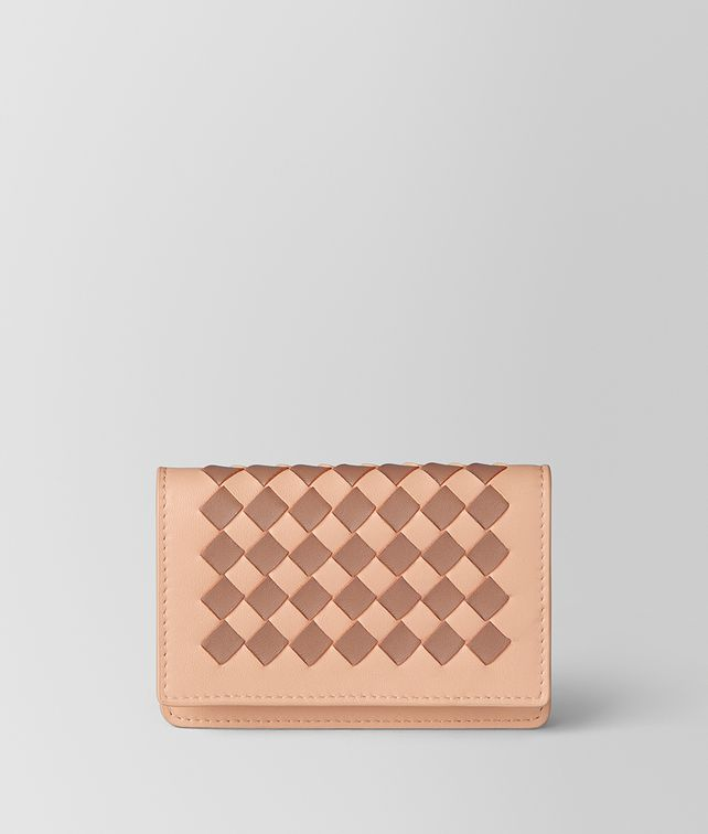 BOTTEGA VENETA PEACH ROSE DAHLIA INTRECCIATO CHECKER CARD CASE Card Case or Coin Purse E fp