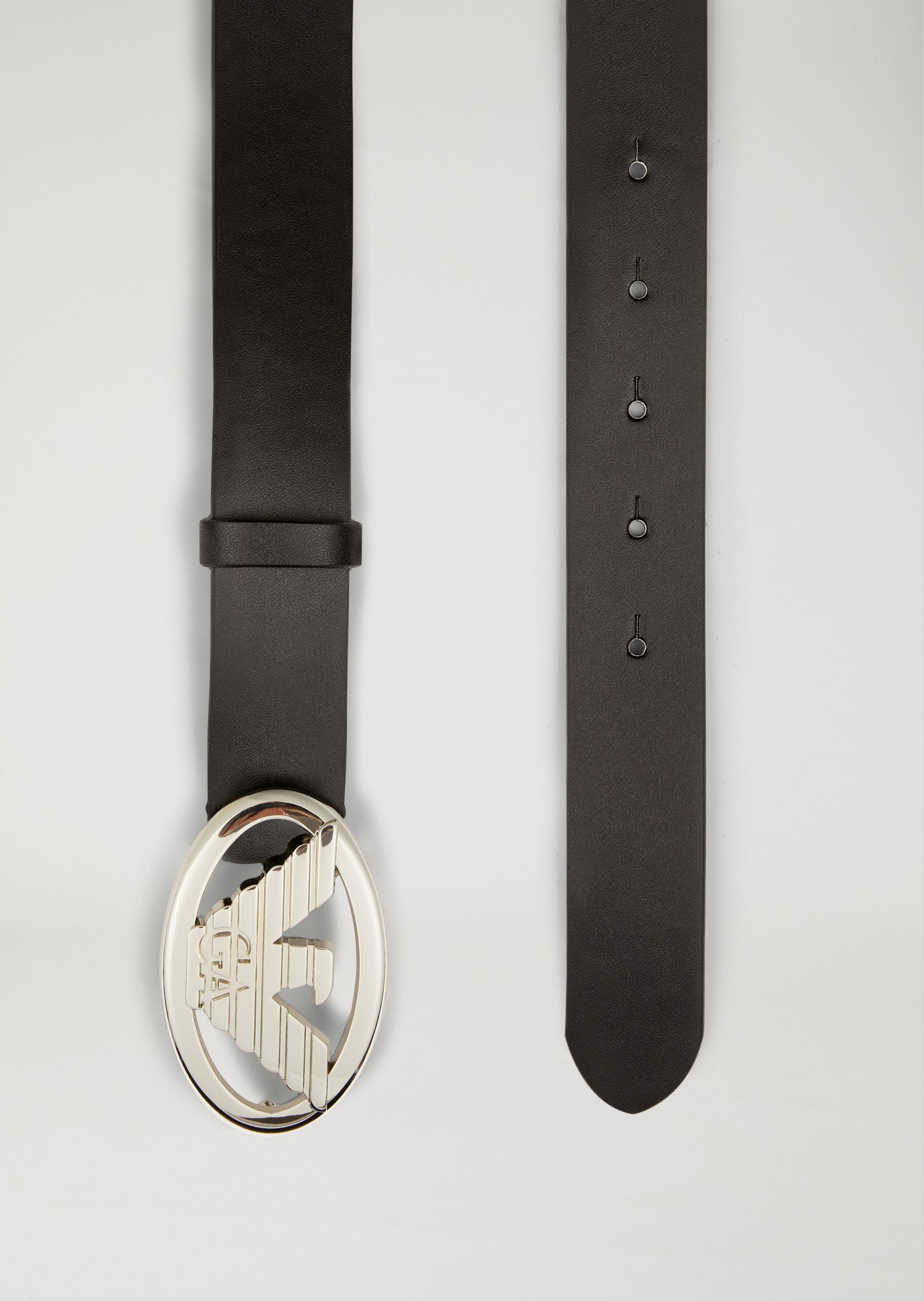 faux leather belt with logo buckle for women emporio armani. Black Bedroom Furniture Sets. Home Design Ideas