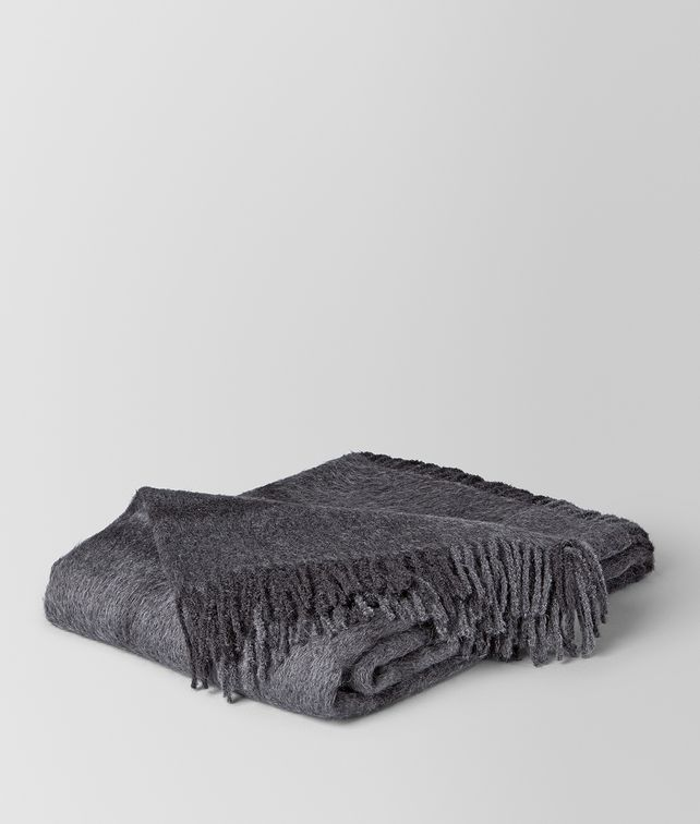 BOTTEGA VENETA ANTHRACITE DARK GREY ALPACA AND WOOL KAUNIS BLANKET BLANKET E fp
