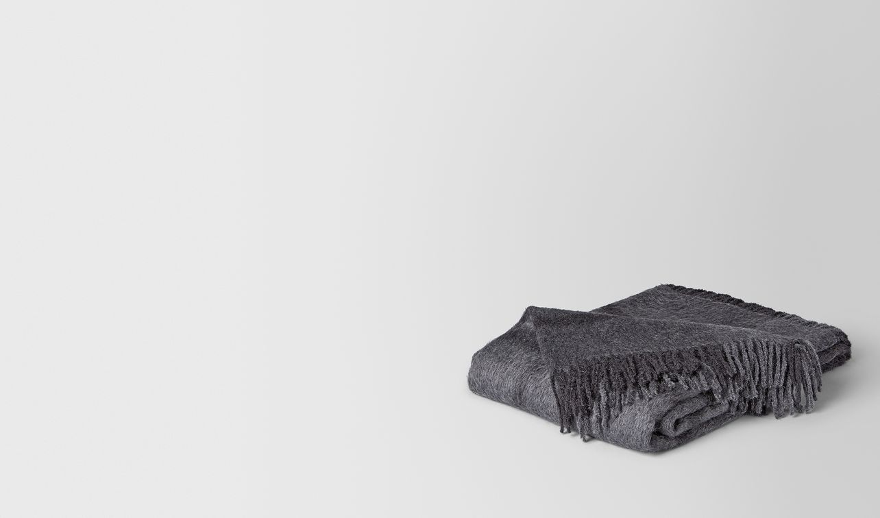 anthracite dark grey alpaca and wool kaunis blanket landing