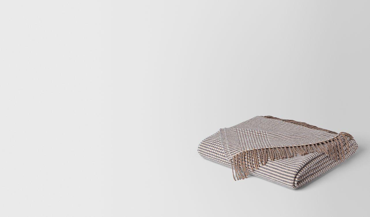 anthracite beige cashmere soft check blanket  landing
