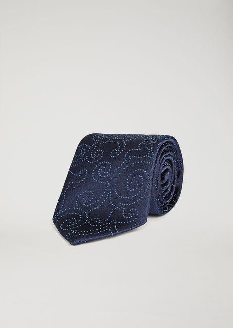 Cravate en satin avec motif jacquard