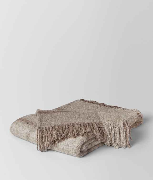 BOTTEGA VENETA GRAPHITE MEDIUM GREY ALPACA AND WOOL KAUNIS BLANKET BLANKET E fp