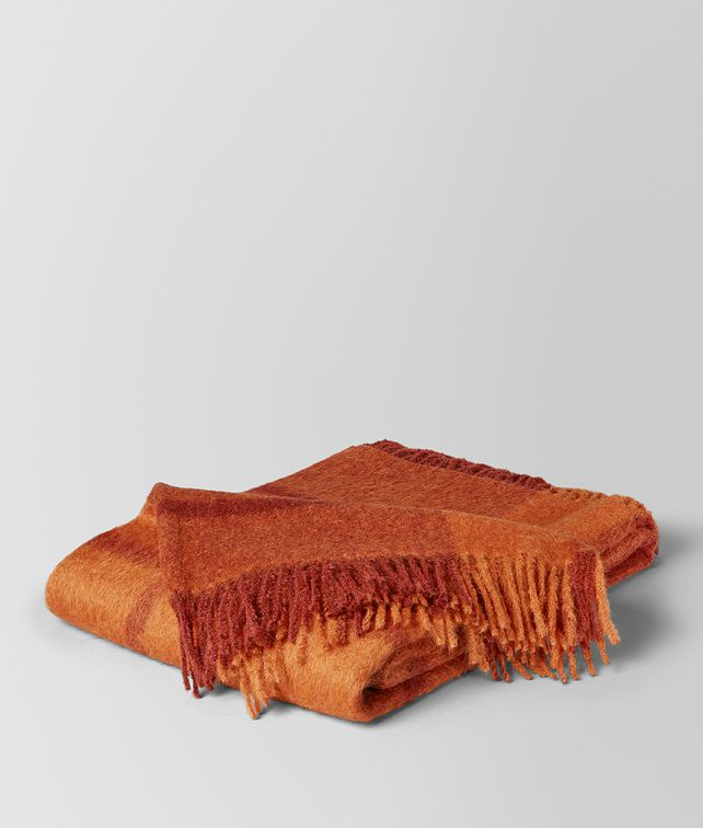 BOTTEGA VENETA TANGERINE ORANGE ALPACA AND WOOL KAUNIS BLANKET BLANKET E fp