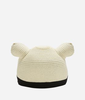 KARL LAGERFELD CAT EARS STRAW CAP