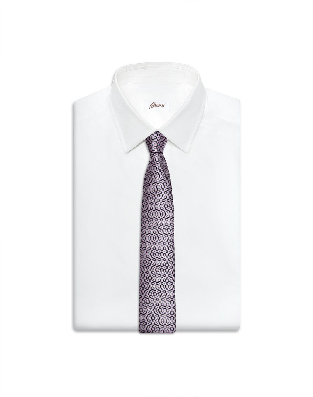 BRIONI Old Rose and Black Macro-Design Tie Tie Man e