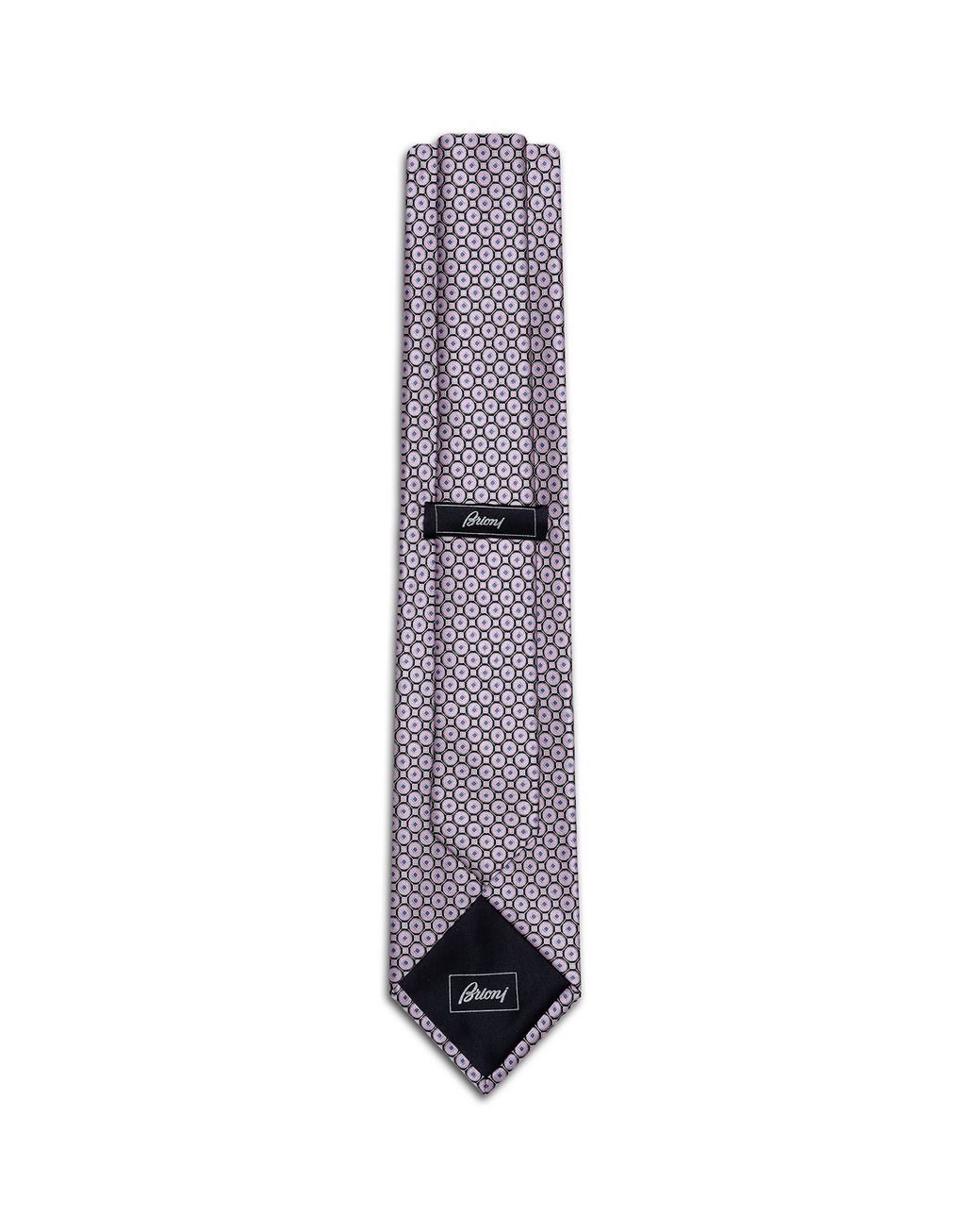 BRIONI Old Rose and Black Macro-Design Tie Tie Man r