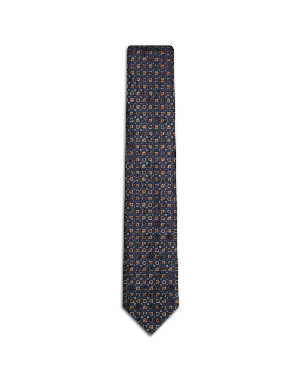 BRIONI Navy-Blue and Mustard Tie Tie [*** pickupInStoreShippingNotGuaranteed_info ***] f