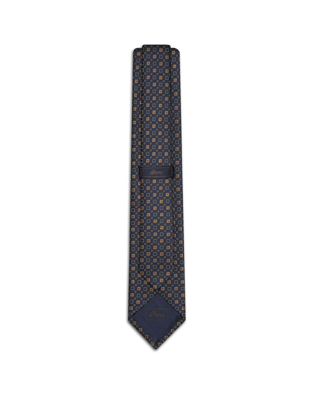 BRIONI Navy-Blue and Mustard Tie Tie [*** pickupInStoreShippingNotGuaranteed_info ***] r