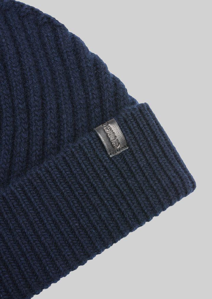 Watch Cap In Diagonal Ribbed Wool Man Giorgio Armani