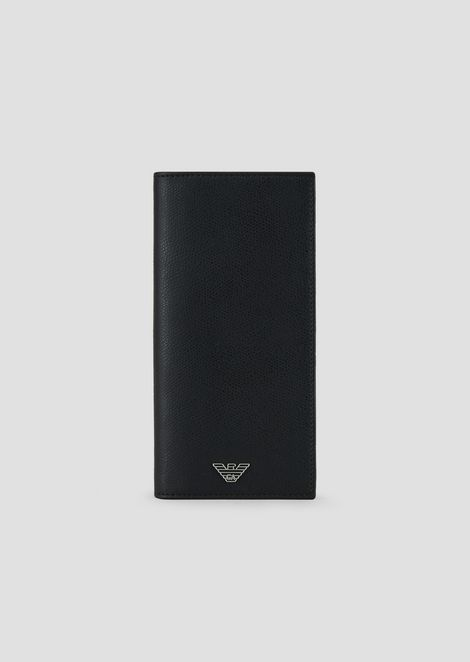 Vertical wallet in printed leather