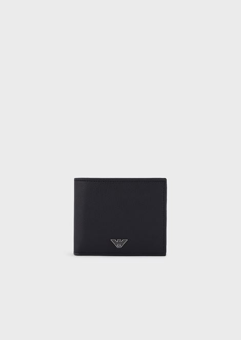 Leather wallet with coin purse and metal logo