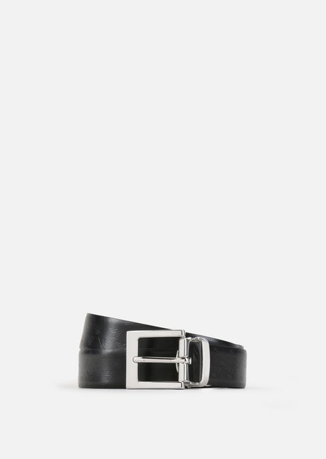 Reversible leather belt with logo