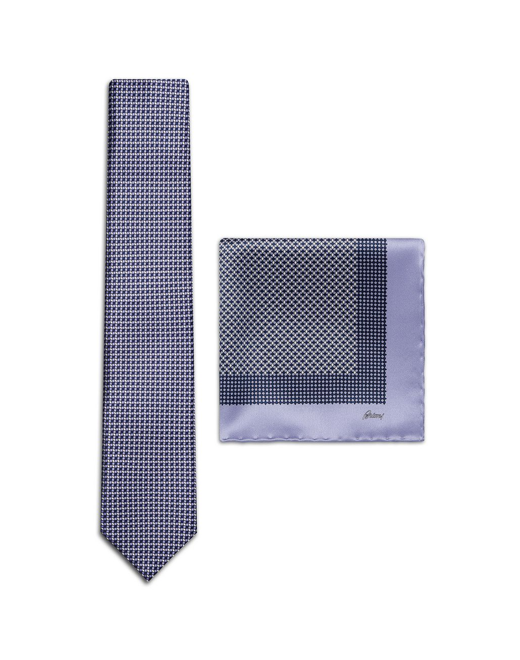 BRIONI Lilac and Navy-Blue Micro-Design Tie Set Tie & Pocket Square Man f