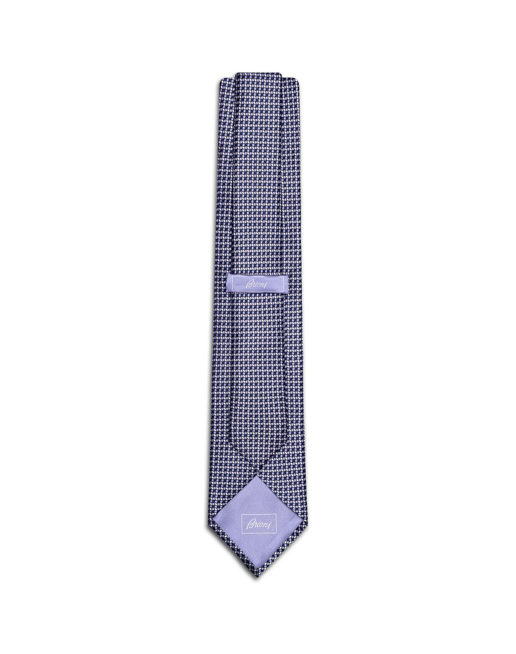 BRIONI Lilac and Navy Blue Micro-Designed Tie Set Tie & Pocket Square [*** pickupInStoreShippingNotGuaranteed_info ***] r