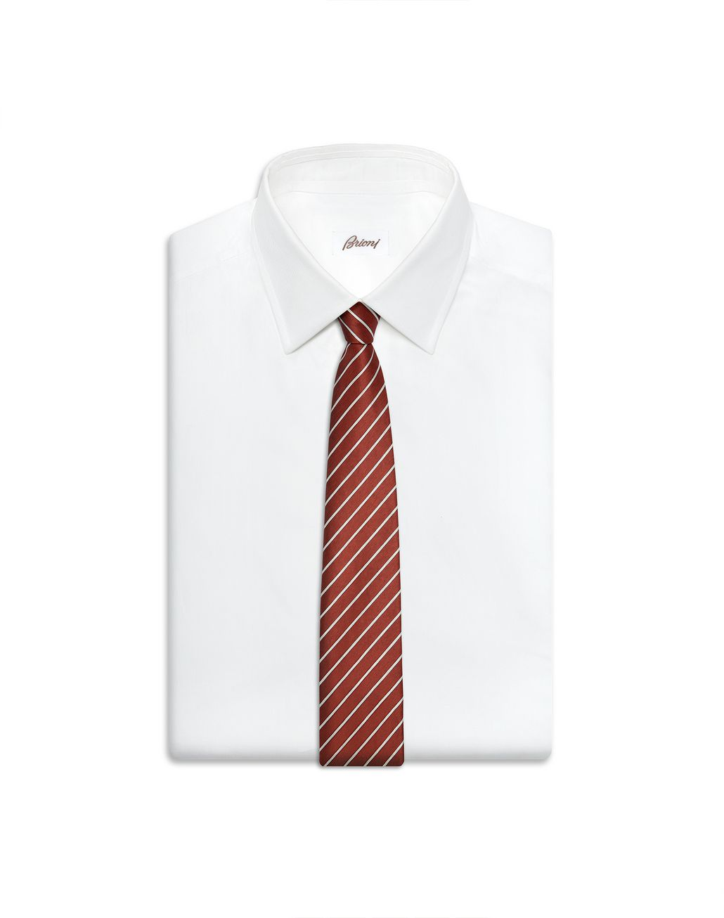 BRIONI Red and Pearl Regimental Tie Tie Man e