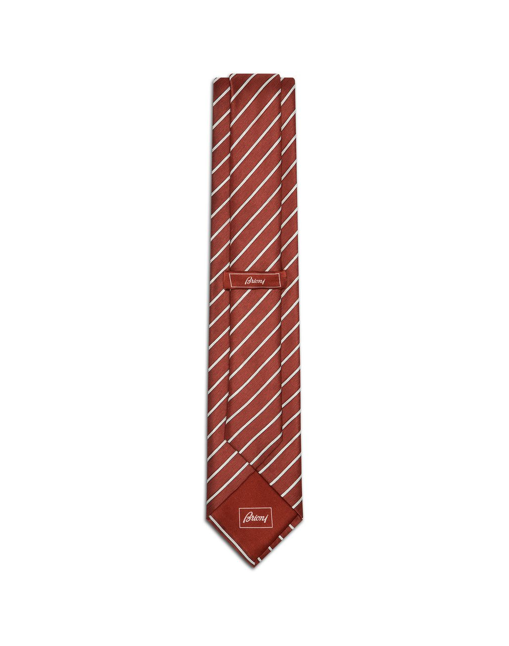 BRIONI Red and Pearl Regimental Tie Tie [*** pickupInStoreShippingNotGuaranteed_info ***] r
