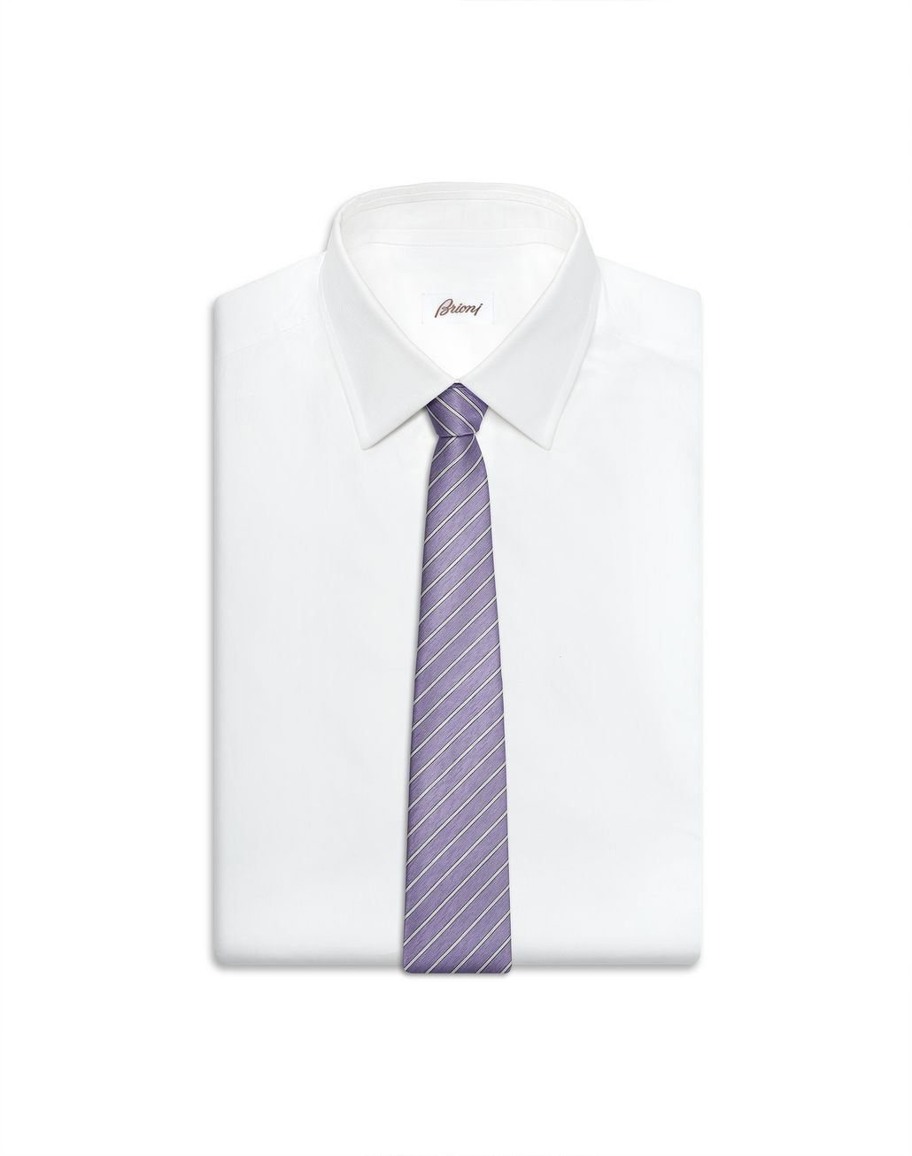 BRIONI Lilac and Pearl Regimental Tie Tie Man e