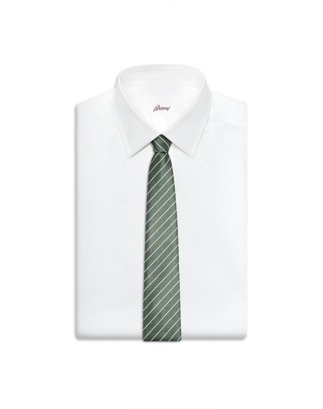 BRIONI Thyme Green and Pearl Regimental Tie Tie Man e