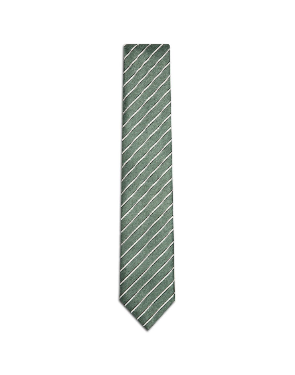 BRIONI Thyme Green and Pearl Regimental Tie Tie Man f