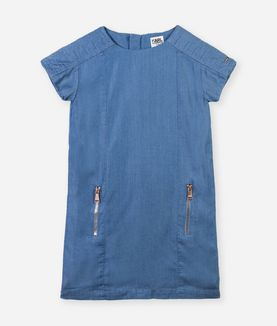 KARL LAGERFELD KUILTED DENIM LOOK DRESS