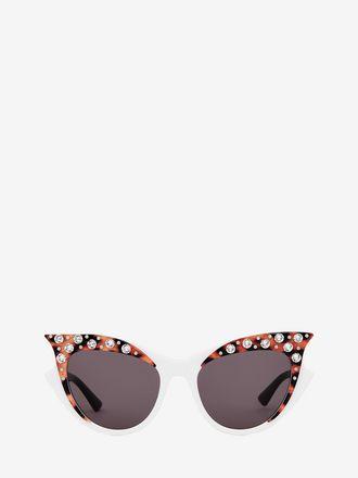 Cateye-Sonnenbrille mit Kristallen