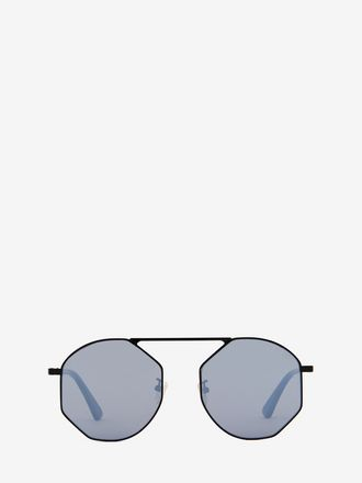 Eckige Sonnenbrille in Metallic-Optik