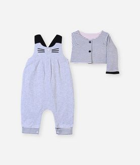 KARL LAGERFELD NEWBORN OVERALL WITH CARDIGAN