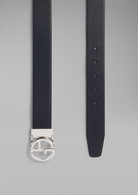 Chevron print leather belt