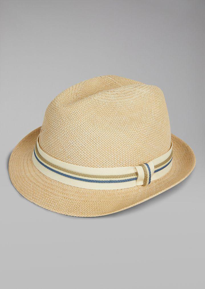 a1547ac4b8d50 ... GIORGIO ARMANI Straw hat with canvas insert Fedora Hat Man r ...