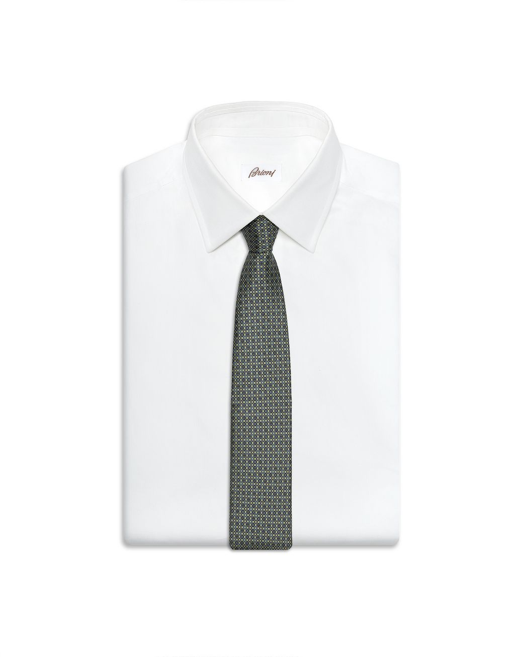 BRIONI Thyme Green and Graphite Design Tie Tie Man e