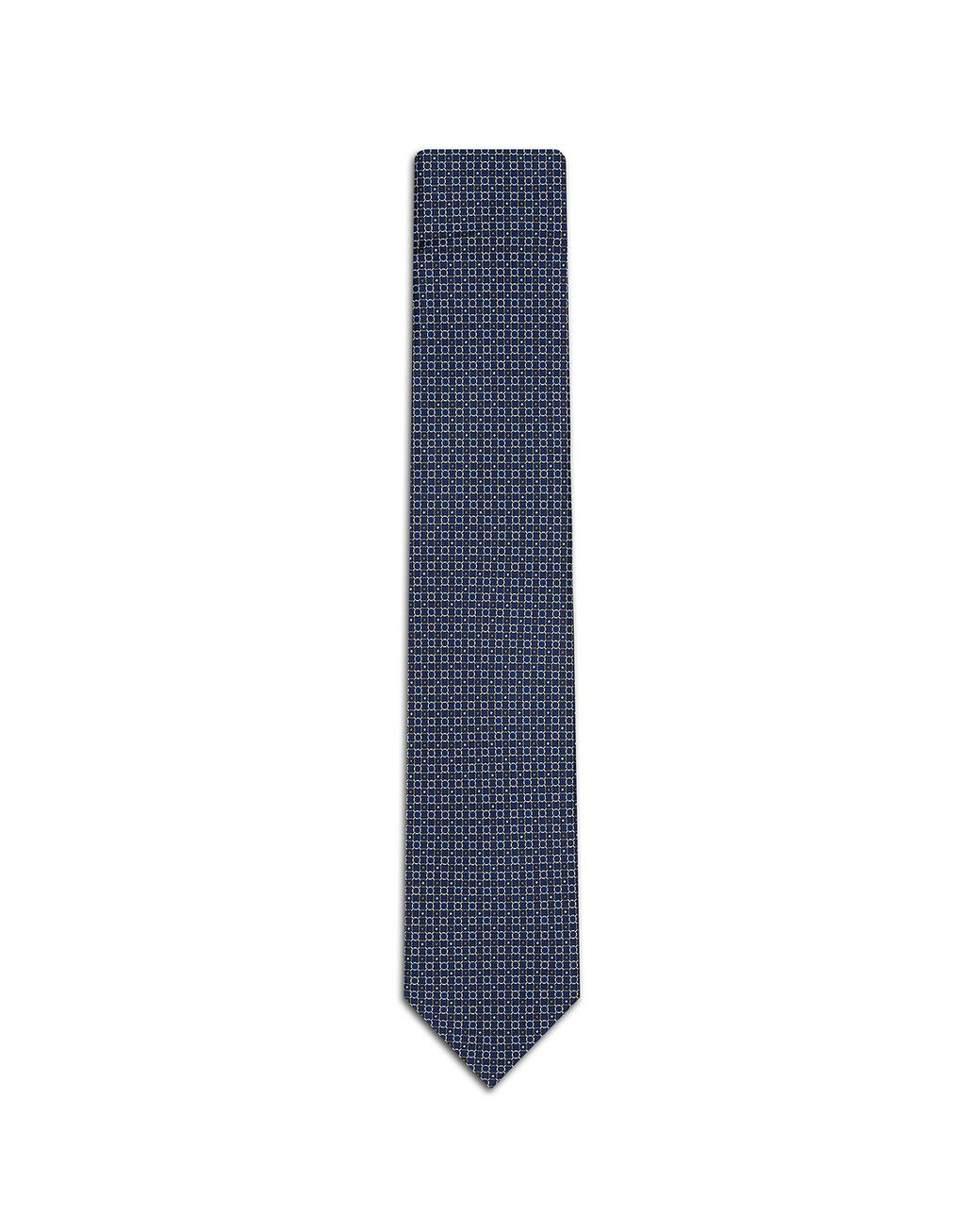 BRIONI Navy-Blue and Graphite Design Tie Tie Man f