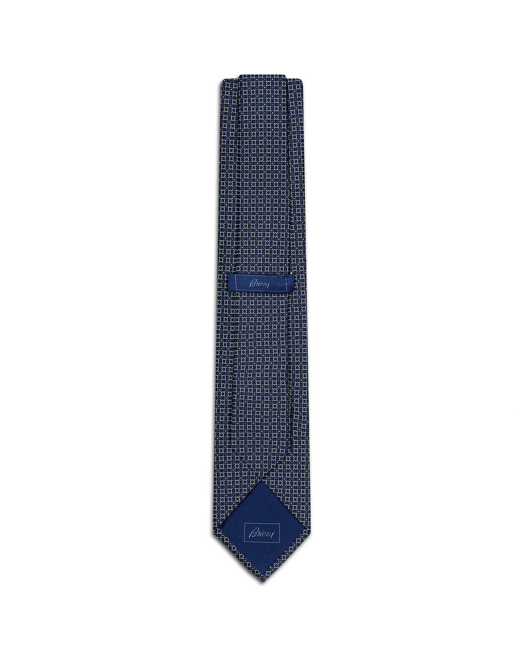 BRIONI Navy Blue and Graphite Design Tie Tie Man r