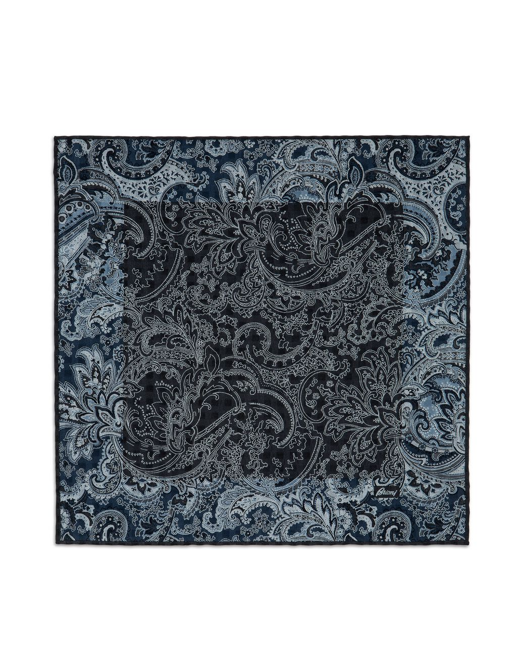 BRIONI Dark Gray and Sky-Blue Paisley Pocket Square   Tie Man f