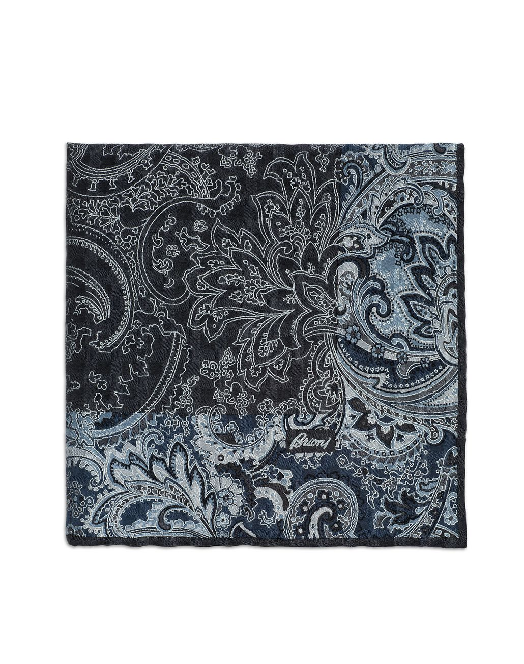 BRIONI Dark Grey and Sky Blue Paisley Pocket Square   Tie Man r