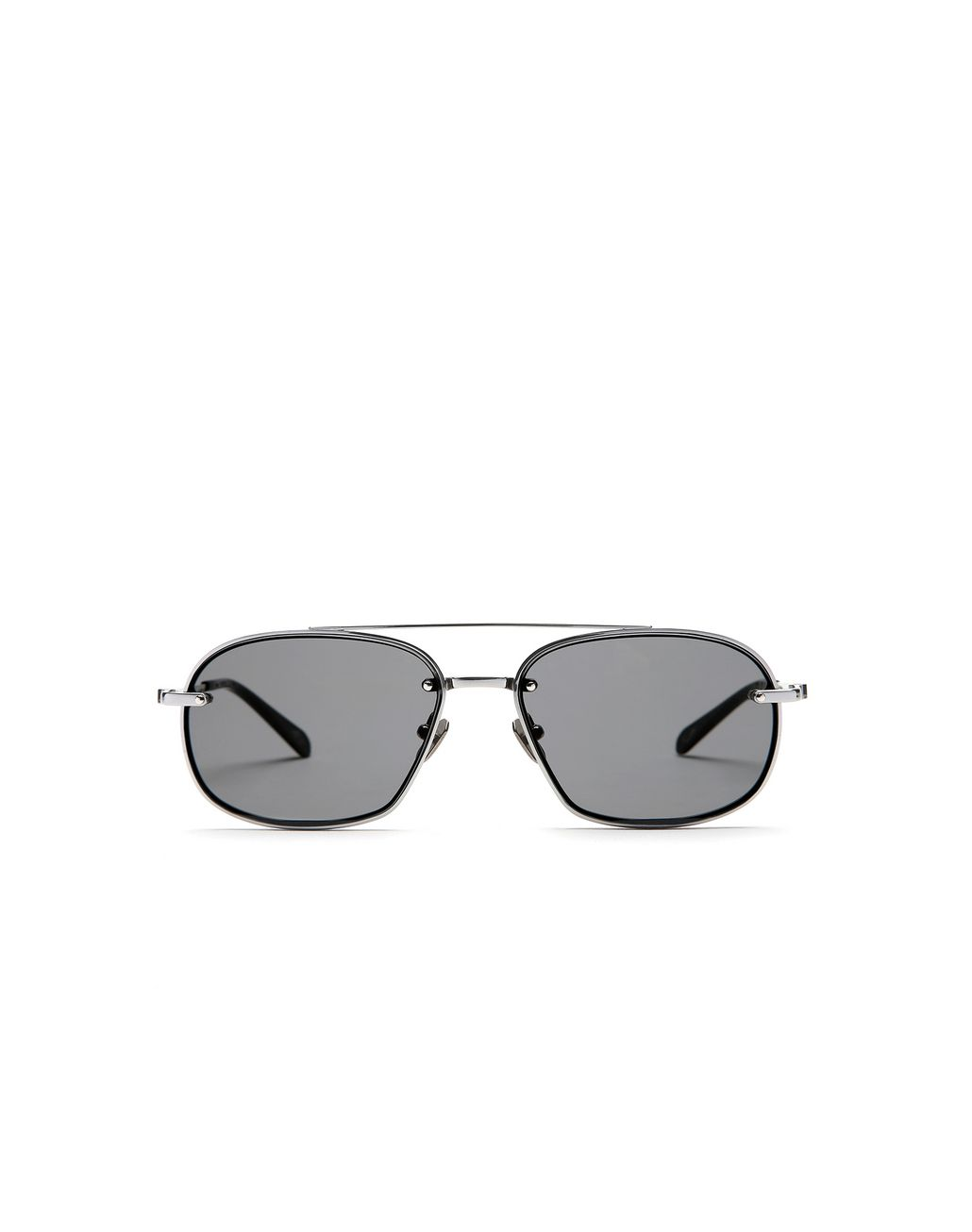 BRIONI Silver Teardrop Titanium Sunglasses with Grey Lenses  Sunglasses Man f