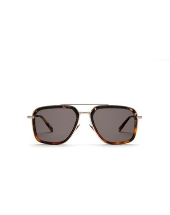 Havana Geometric Shape Sunglasses with Grey Lenses
