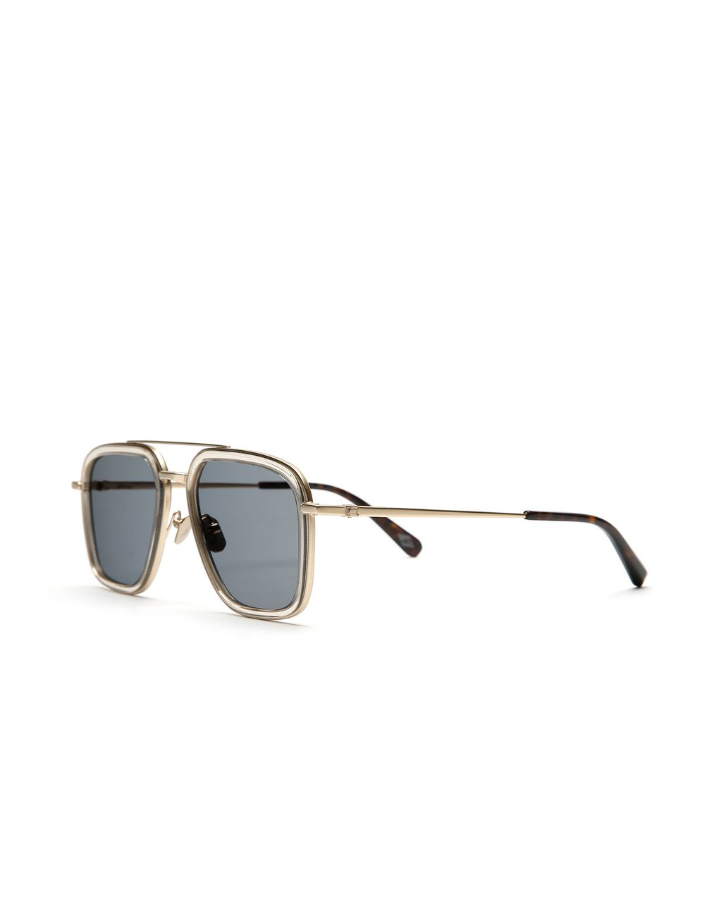 BRIONI Transparent Sand Geometric Shape Sunglasses with Green Lenses  Sunglasses Man r