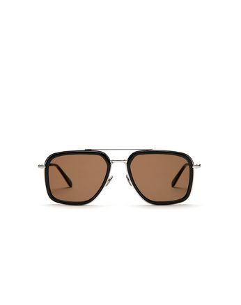 Black Geometric Shape Sunglasses with Brown Lenses